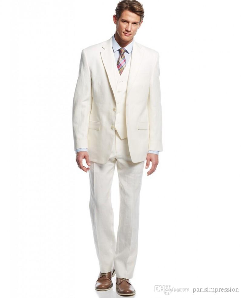 Summer Cool Grooms Tuxedos Ivory Linen Suits Notched Lapel Beach Wedding Suits For Men Slim Fit Mens Suits Three Piece Groomsmen Suit NEW