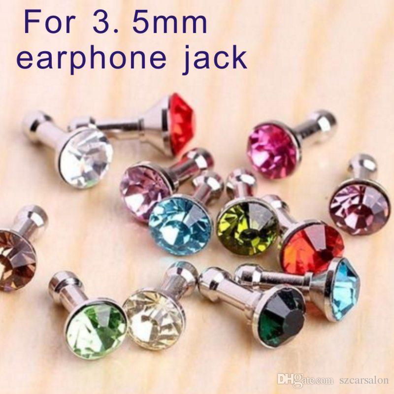 Universal 3.5mm Crystal Diamond Rhinestone Anti Dust Plug Dustproof Earphone Jack plug Headphone Plugs Stopper Cap Gadgets