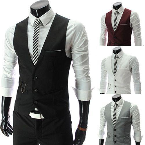도매 - 새로운 디자인 남성 공식적인 비즈니스 슬림 피트 V 넥 솔리드 싱글 브레스트 조끼 양복 양복 조끼