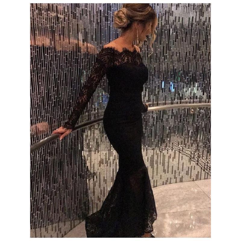 2017 Black Lace Off The Shoulder Prom Dresses Mermaid con maniche lunghe Piano Lunghezza donne formali abiti da sera Vintage Custom Made