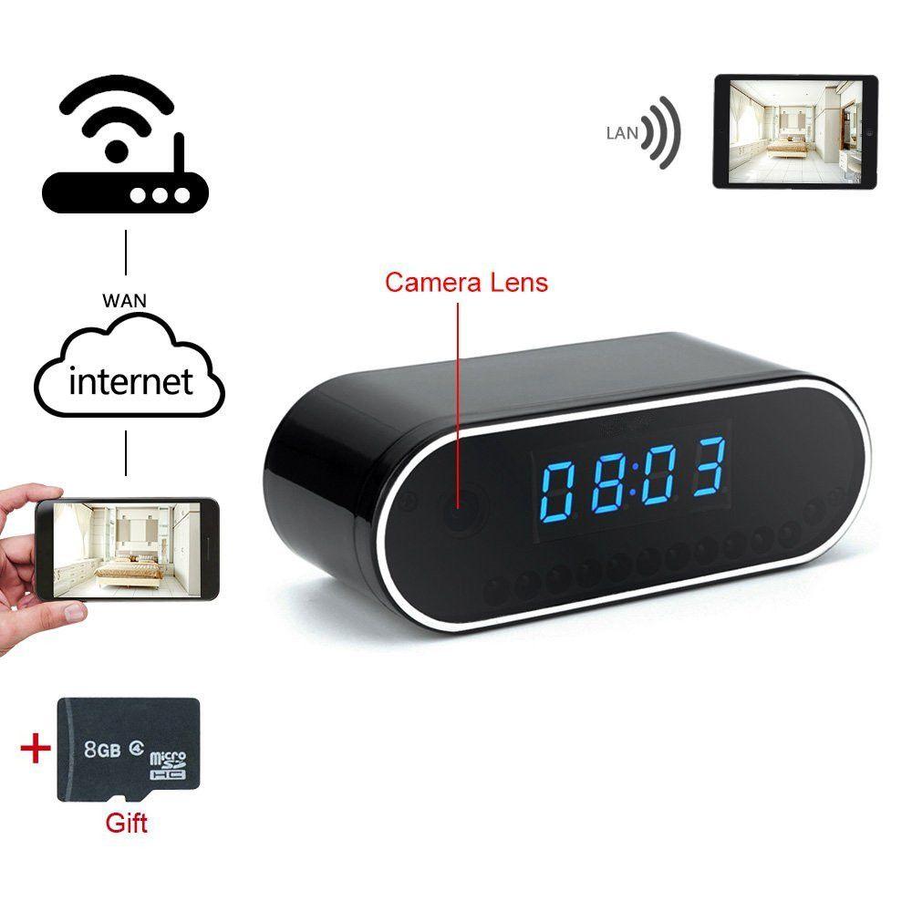 WIFI 720P HD IP Spy Camera Alarm Clock Motion Detection Hidden DVR Night Vision