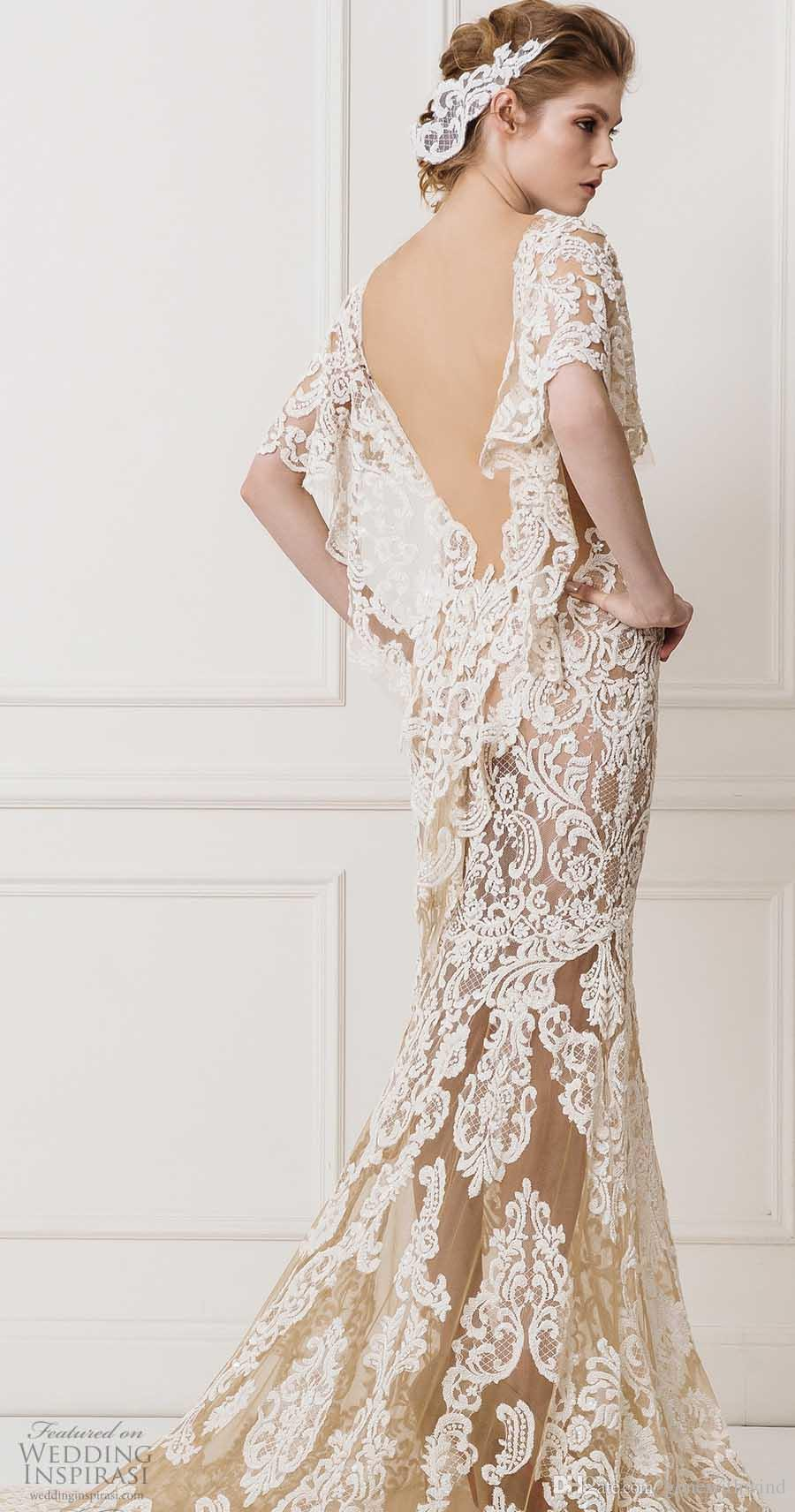 Flutter Sleeves Champagne Lace Wedding Dresses 2017 Maison Yeya ...