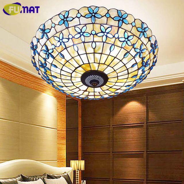 FUMAT Blue Lilac Shell Ceiling Lamp Bedroom Living Room Light European Style Study Balcony Ceiling Light
