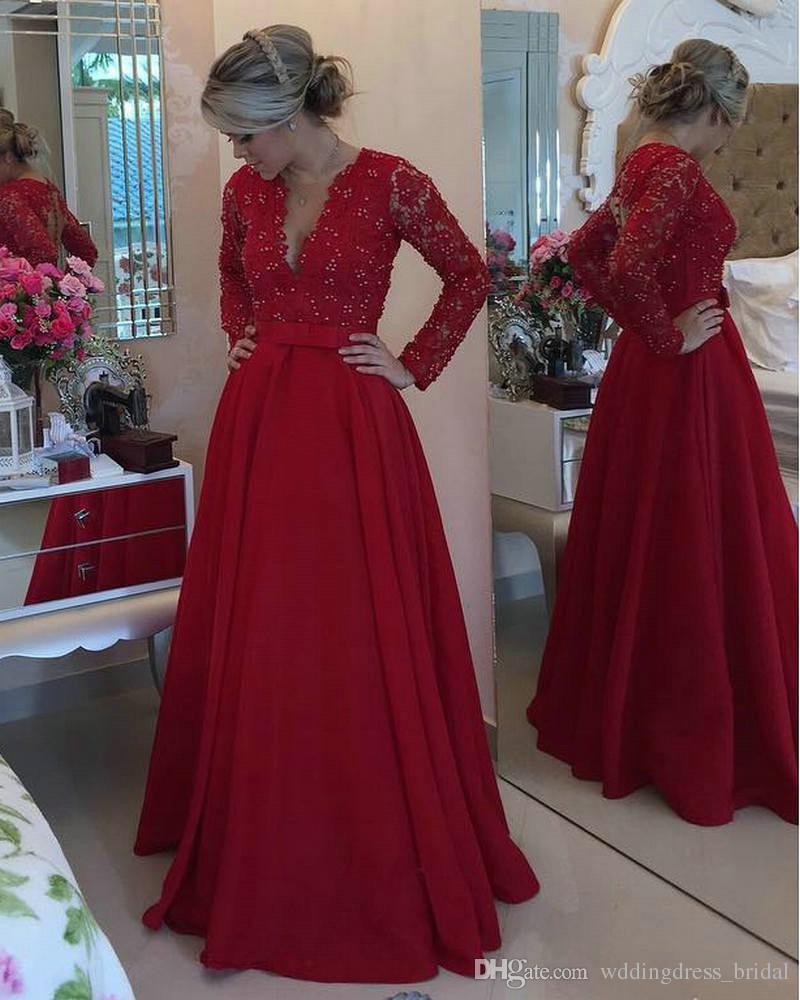 Großhandel Mutter Der Braut Vestidos Longos Para Formatura 19 Langes  Abendkleid Rotes Satin Langes Abendkleid Mit Perlen Von Wddingdress_bridal,