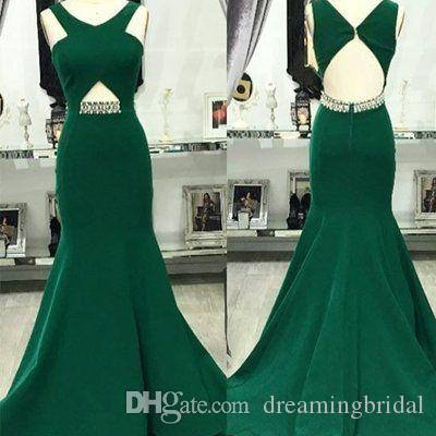 Elegant Green Backless Long Evening Dresses 2017 New Sleeveless v Neck Crystal Sash Formal Mermaid Prom Dresses Party Gown Custom Made