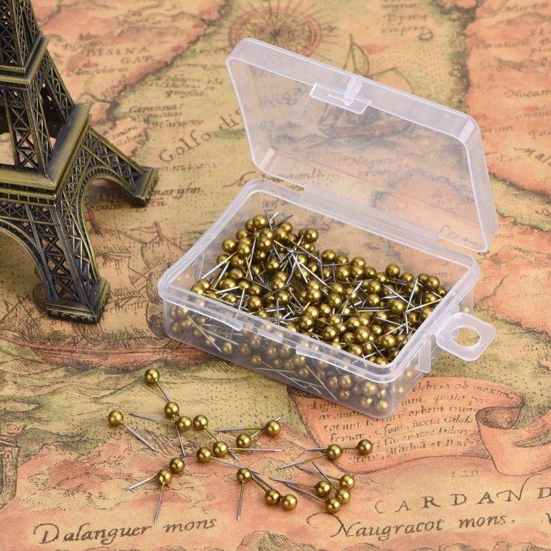 خريطة دفع دبابيس مع رئيس 1/8 بوصة ونقطة الصلب، 400 حزمة (الذهب الرجعية) شحن مجاني