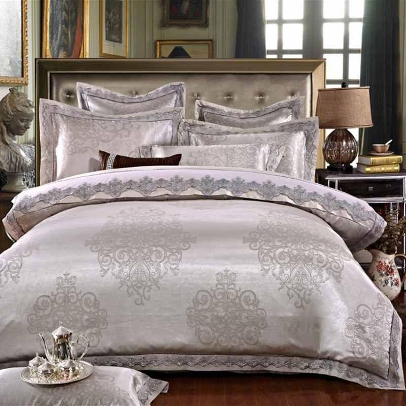4Pieces White Jacquard Silk Cotton Luxury Bedding Set King Size Queen Bed Set Lace Duvet Cover Bed Sheet Pillowcase Princess Bedclothes