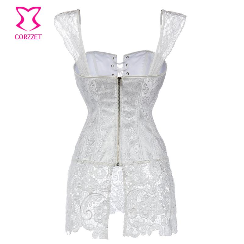 Floral Lace&Brocade White Corset Dress Plus Size Steampunk Corsets Bustiers Sexy Gothic Clothing e Wedding ett For Women