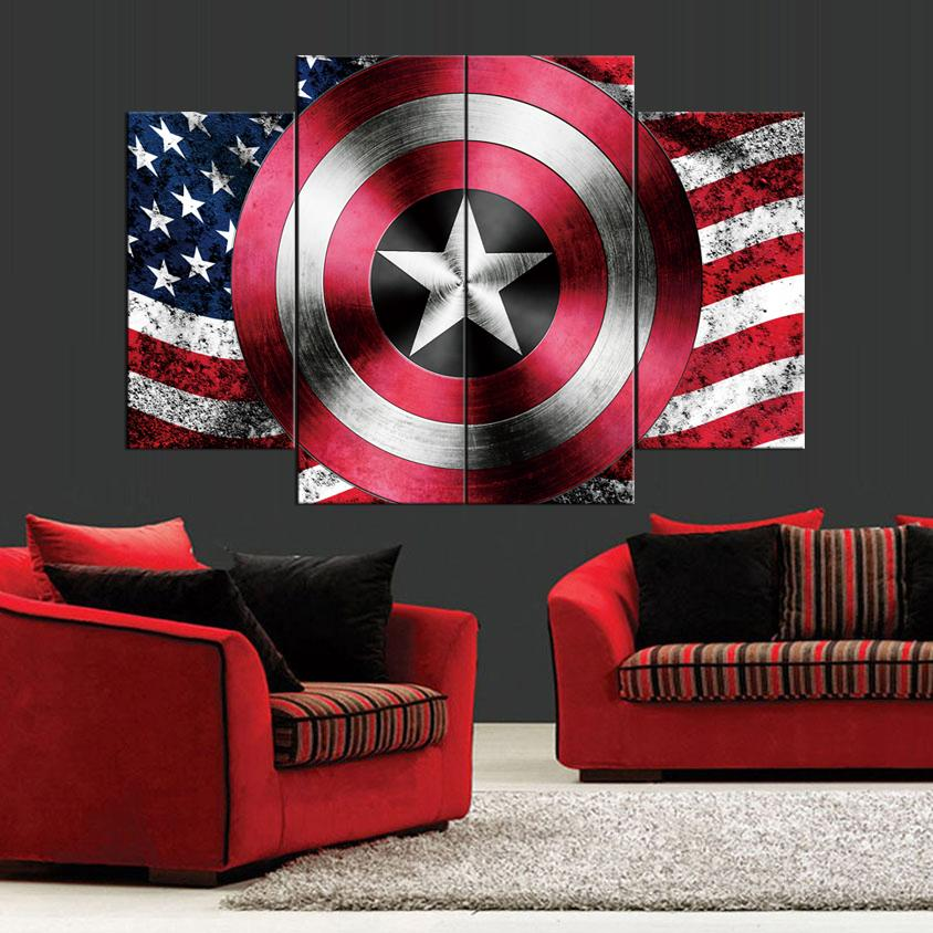 Schild der Vereinigten Staaten Frameless Paintings 4pcs (No Frame) auf Leinwand gedruckt Arts Modern Home