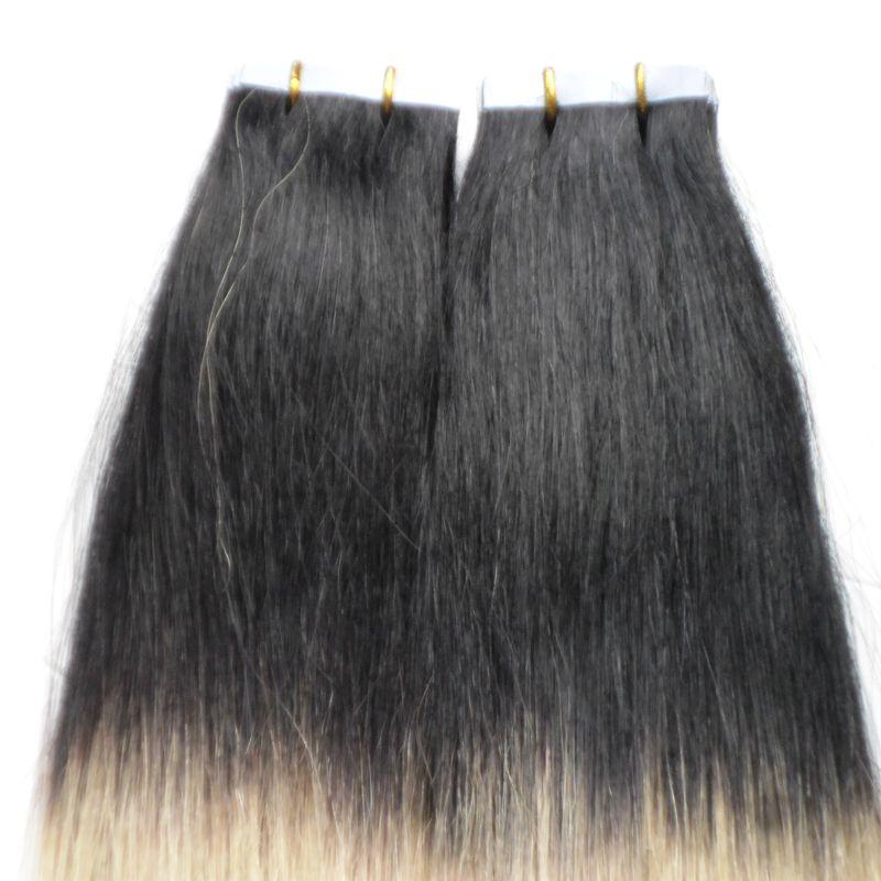Белокурая лента в человеческих волосах бразильские расширения 100g 40pcs прямой 1b / 613 кожи утка бесшовные расширения ленты Ombre человеческих волос