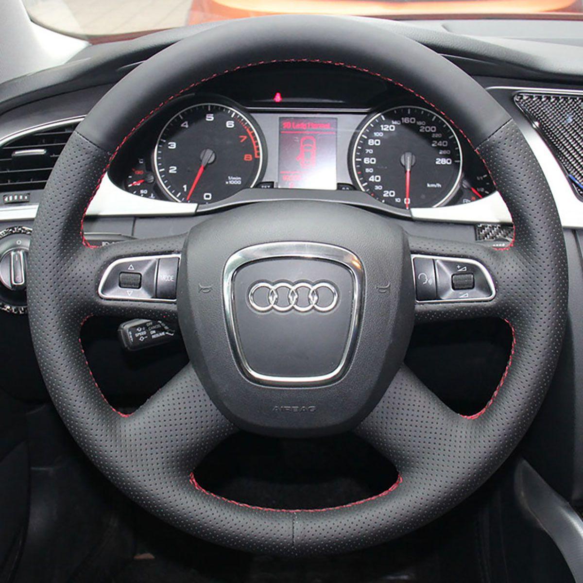 Крышки рулевого колеса для Audi A4L / A8L 2009 / Q7 2010 ~ 2012 Специально изготовленные из натуральной кожи крышка руля DIY стайлинга автомобилей черные / красные линии