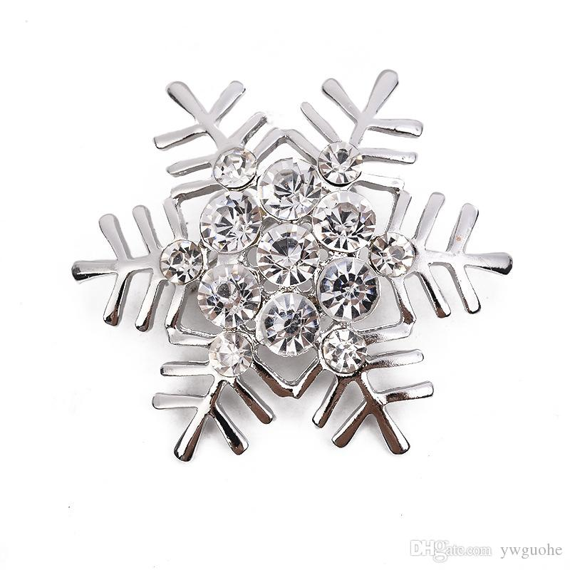 Vente chaude bricolage broches Noël flocon de neige diamants broches coréenne alliage Fashion broches bijoux