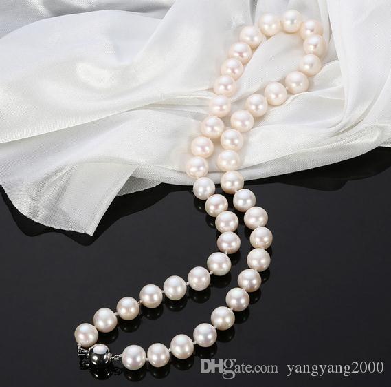 Горячие природные 9-10 мм южные моря белый натуральный жемчуг ожерелье 18 дюймов 925 серебряная застежка QYXL-2035