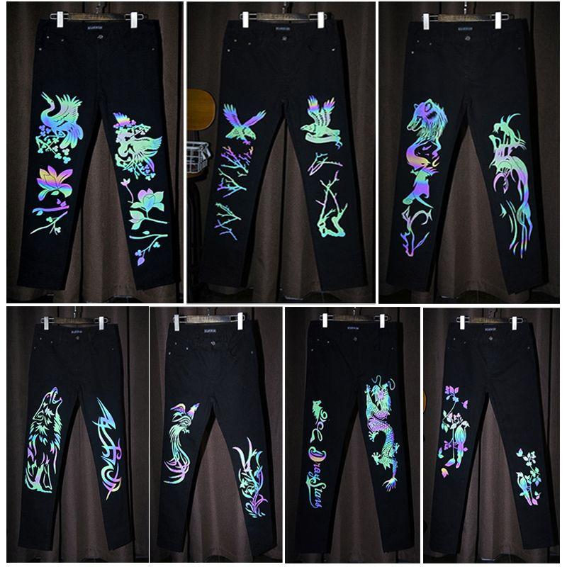 Süper Özel Moda Erkekler Işık Kurt Gece Işık Parlak Pamuk Siyah Ince Streç Kot Pantolon Aydınlık Marka Tasarımcı Kot Erkekler için