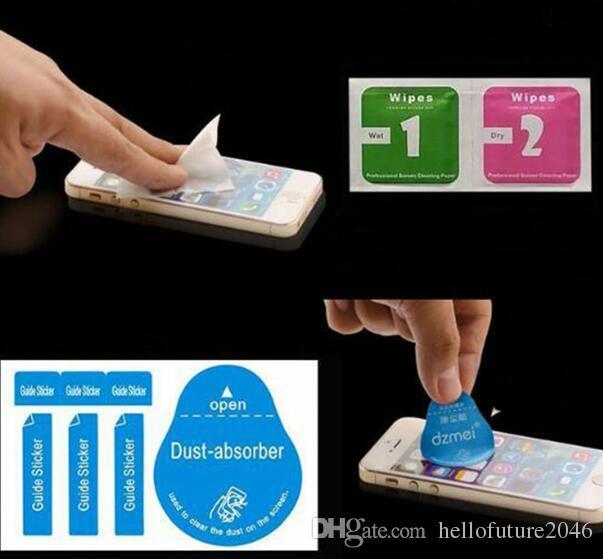 Freie Pfosten Dry Wipes + Feuchttücher + Staub Absorber Aufkleber Reinigungstuch für gehärtetes Glas Bildschirmschutz Tablet-Kamera LCD