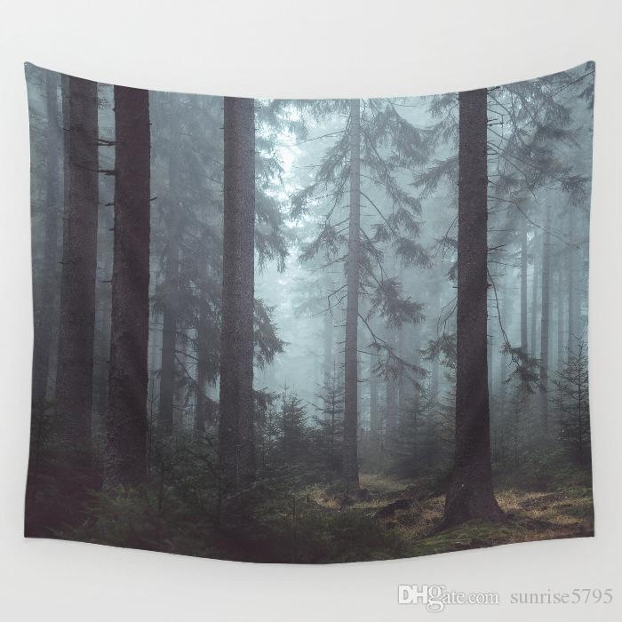 wood mist forest wall hanging cloth decorative scenery tapestry polyester nordic decor trendy printed tenture