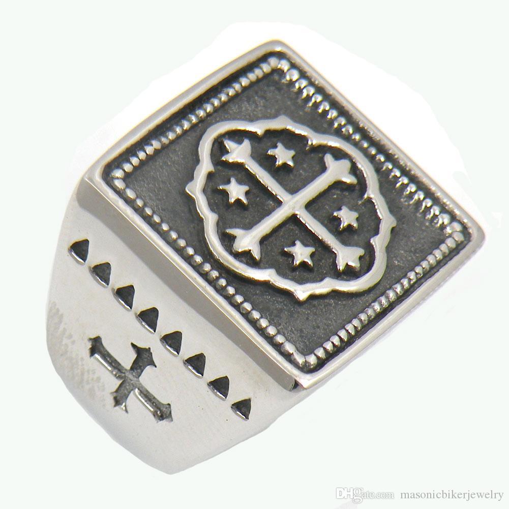 Uomo Acciaio FANSSTEEL o wemens masonary libero gioielli Cristo Croce Templari Croce MASSONICO ANELLO regalo 13W66