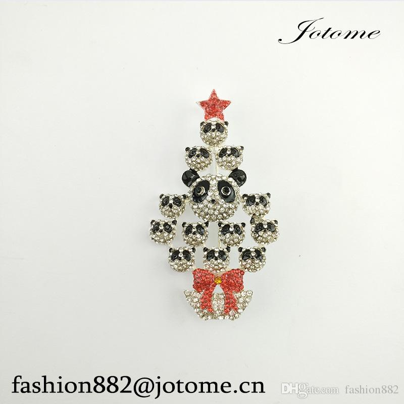 100PCS/Lot 2017 China Wholesale Vintage Style Crystal Multi Panda Christmas Tree Brooch Fashion Women/Men Jewelry