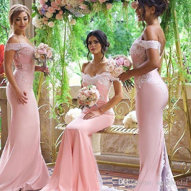 2019 Fora do Ombro Encantador Vestidos de Dama de Honra Renda Sem Mangas Trem da Varredura Desgaste do Convidado do Casamento Custom Made Bainha Vestidos de Festa de Dama de Honra