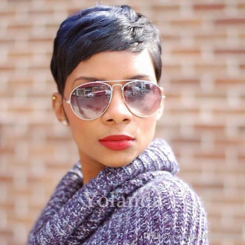 New Human Hair Wig Short Pixie Cut Wig Ladies Black Short Cut Wigs For Black Women African Hair Cut Style Hot Sale