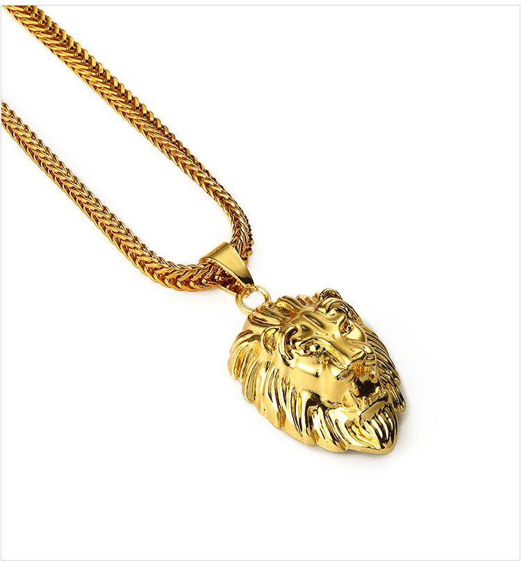 03 hip hop golden lion head pendant necklace
