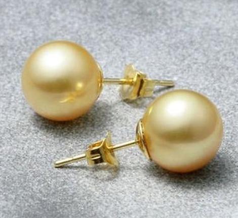 Vendita calda 9-10mm oro naturale del mare del sud orecchini di perle 14 k fermaglio in oro