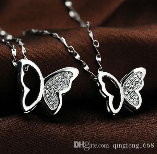 Wholesale weibliche Schmetterlings-hängende Halsketten-Strickjackekette D-005