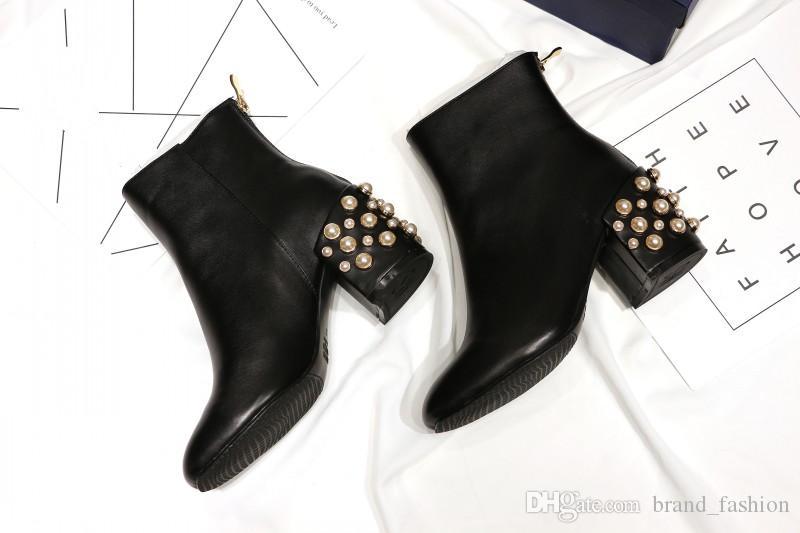 Großhandel Neue Designer Schwarze Stiefel Mit Perlen High Chunky Heels Mode Heißer Herbst T Zeigen Frauen Booties Von Brand_fashion, $105.83 Auf