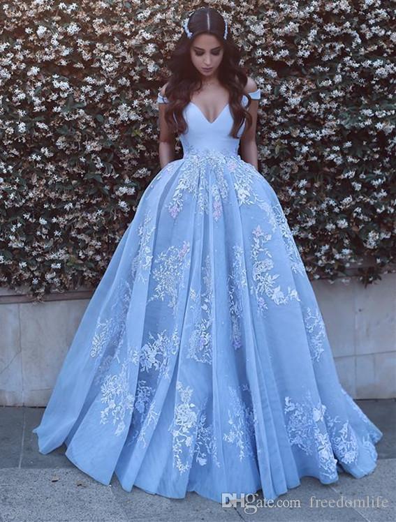 Großhandel Neue Designer Ice Blue Prom Kleider Tiefem V Ausschnitt ...