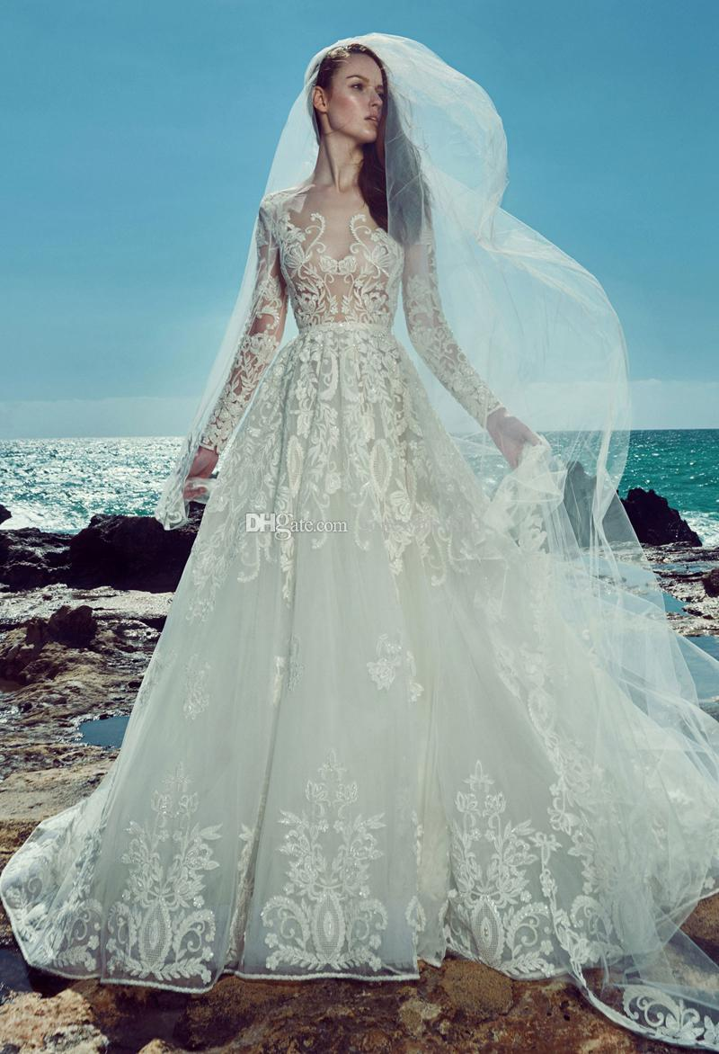 Discount Long Sleeve Beach Lace Wedding Dresses 2017 Zuhair Murad ...