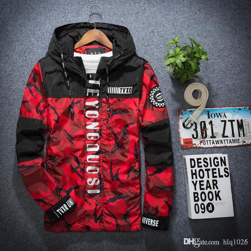 Nuovi uomini giacca primavera autunno moda hiphop giacca con cappuccio patchwork giacca a vento uomini giacca sottile per gli uomini