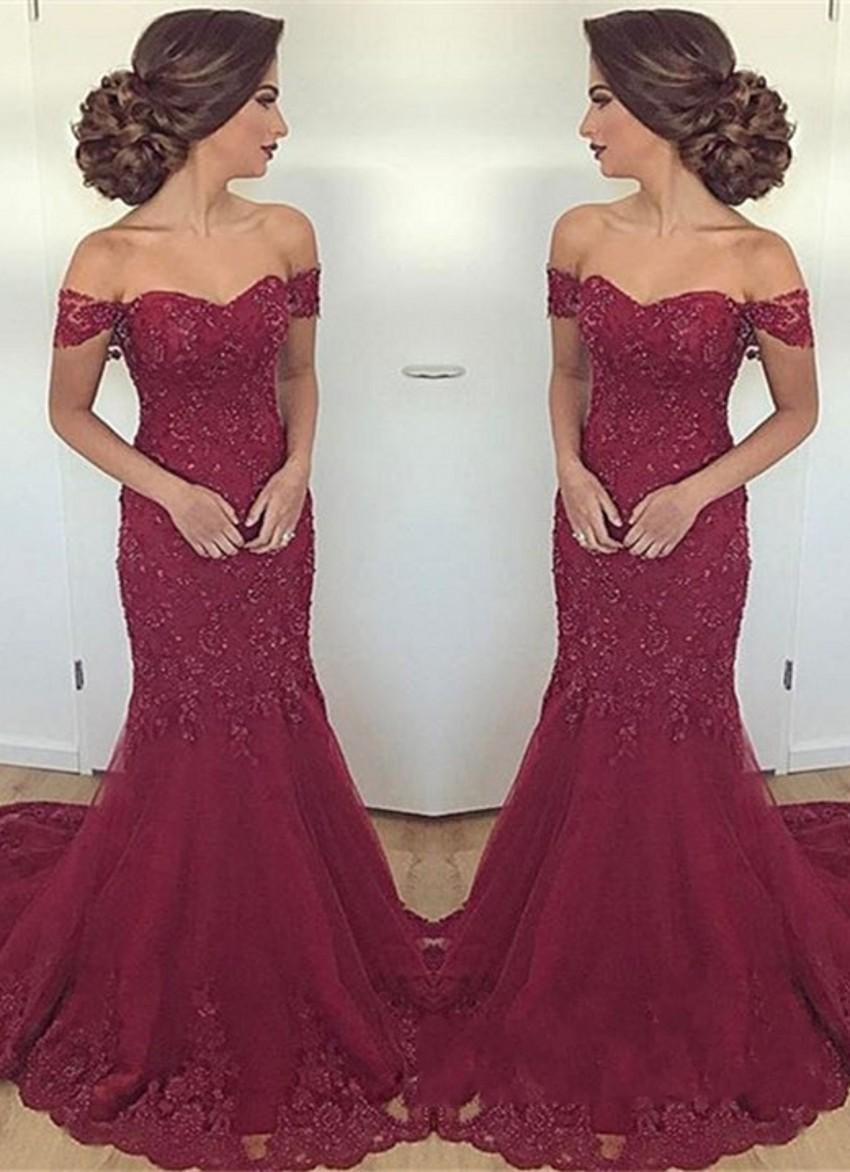 Compre Vestidos De Noche Largos Elegantes De La Sirena Del Vino Rojo Del Amor Apliques Vestidos De Noche Formales Moldeados Vestidos De Fiesta Del