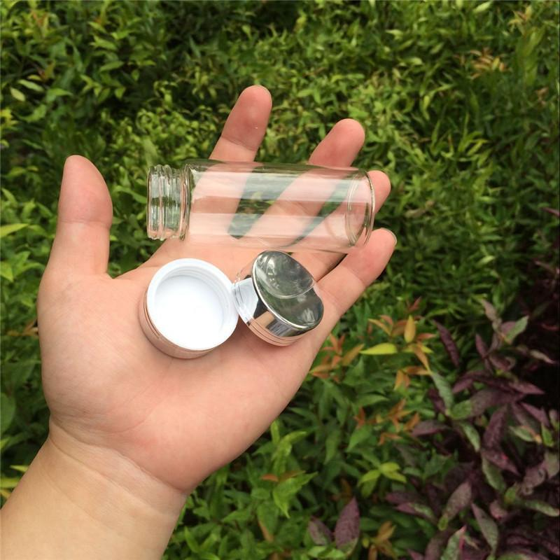 65ml Glass Storage Bottles Jars with Silver Aluminum Screw Cap Wedding Gift Bottles Jars Container3