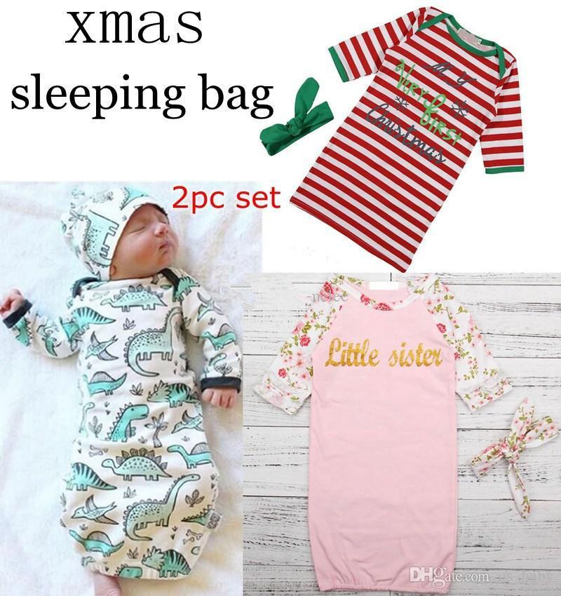 Bebek Çizgili Dinozor Kundaklama Bebek INS uyku tulumları Erkekler Kızlar Muslin Battaniye Kafa Yenidoğan Yumuşak Pamuk Uyku Sack set