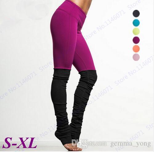 Pantalones de yoga para mujer Pantalones de compresión de color caramelo Medias de cintura alta Leggings de fitness Pantalones pitillo de baile Patchwork negro Nuevo