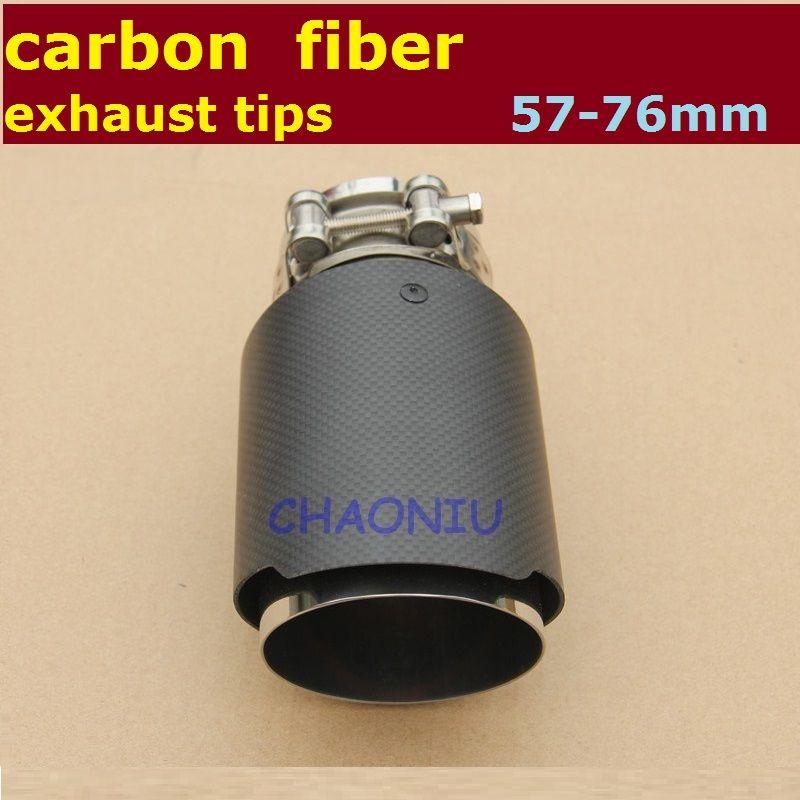 10pcs 54mm 76mm enduit de fibre de carbone + queue d'échappement en acier inoxydable