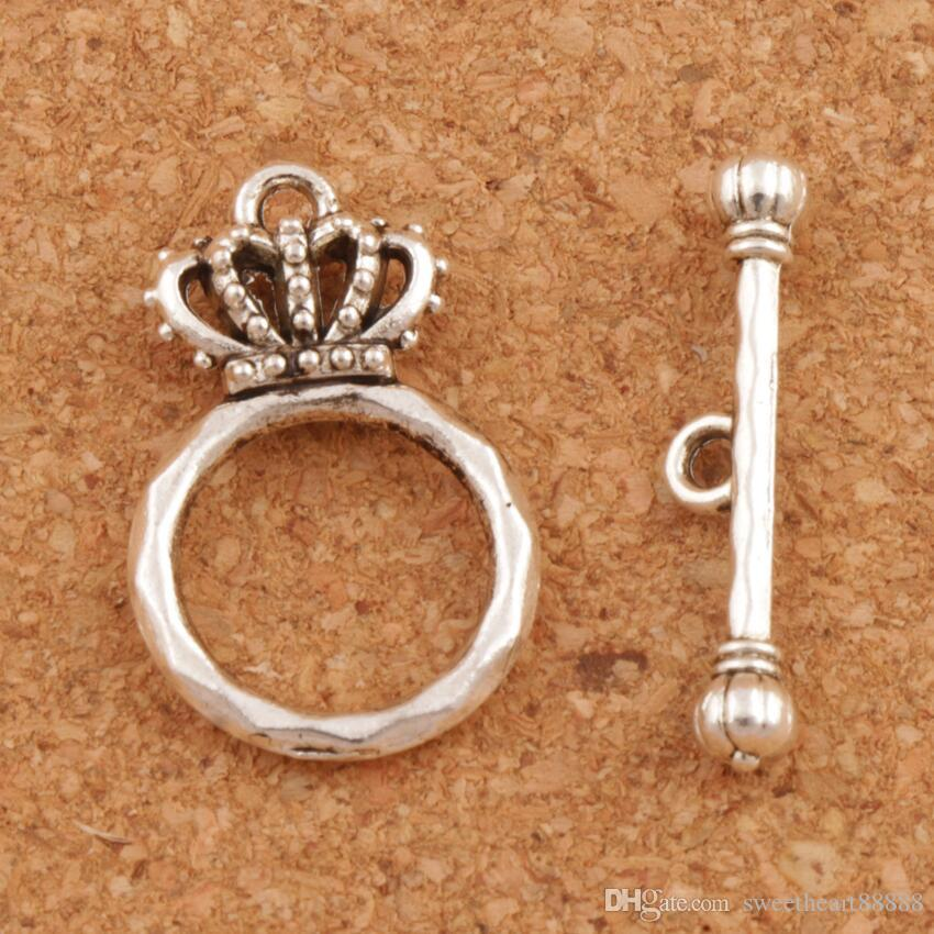 Crown armband växla lås 100st / lot antika silver smycken DIY fynd passar armband L864 Smycken fynd komponenter 15.3x23.7mm