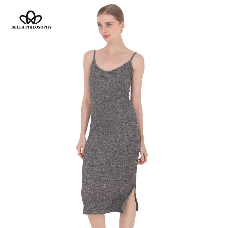 Wholesale- 2017 spring summer autumn new women's side split V-neck Slim knitted cami dress cotton highly stretchy 9 colors gray wine red
