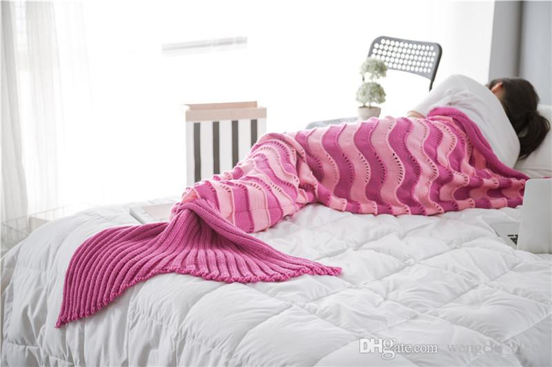 Mermaid Blanket Knitted Bed Blanket Sofa Quilt Air Conditioned ...