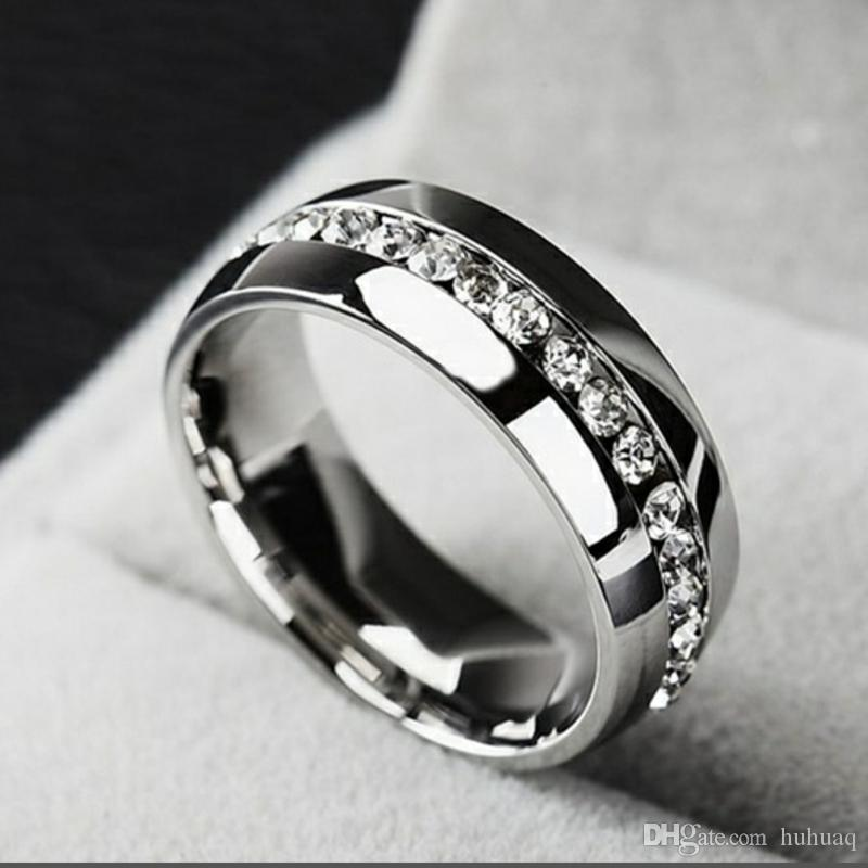 HOT Factory Price Fashion 316L Stainless Steel ring Crystal Wedding Rings For Women Men Top Quality 18K Gold Plated Men's Ring