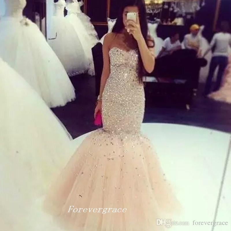Sexy Champagne Colore Prom Dress Mermaid Cristalli In Rilievo Dell'innamorato Lungo Vestito Convenzionale Pageant Party Gown Custom Made Plus Size