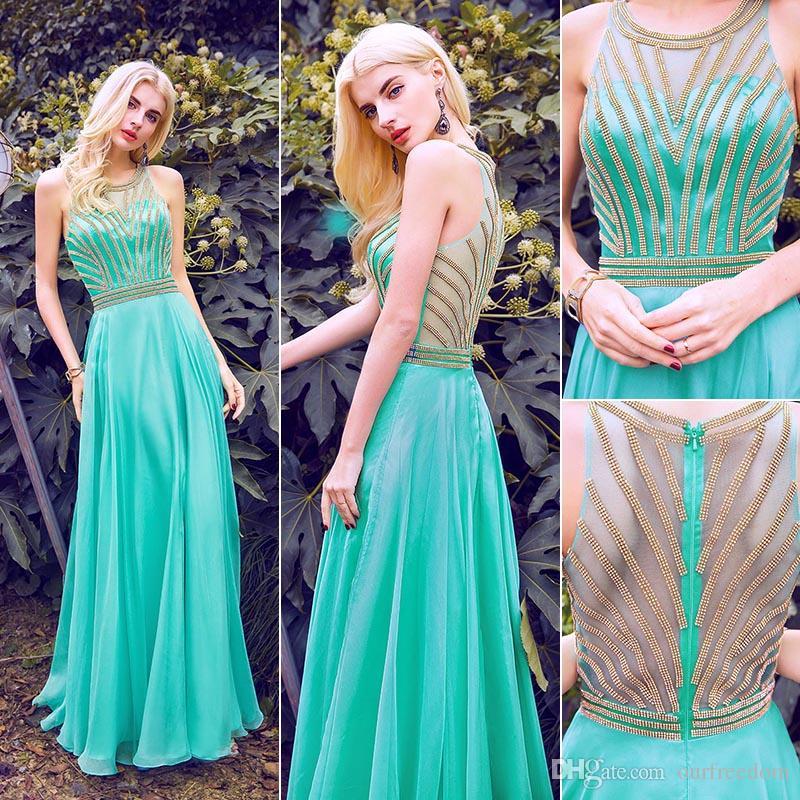 Büyüleyici Aqua Şifon Uzun Akşam Pageant Elbiseler 2019 100% Gerçek Görüntü Sheer O Boyun Altın Sparkly Sequins Boncuklu Balo Parti Kız Elbiseler