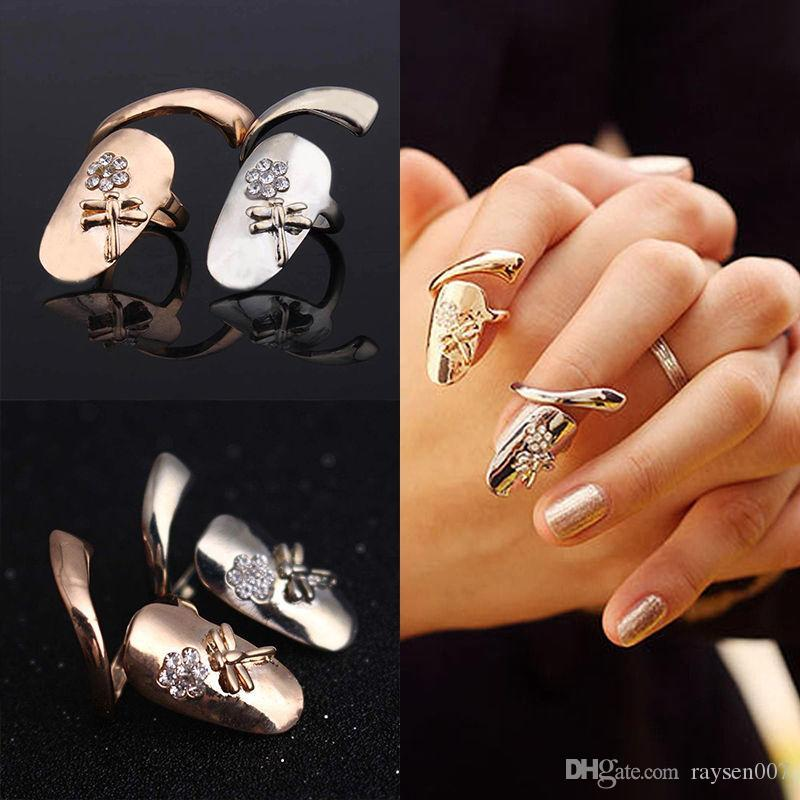 Delicate 18K Gold/Silver Plated Ring for Women Finger nail Rings With Crystal Dragonfly Fashion Punk Rings for teen girls Fine Jewelry