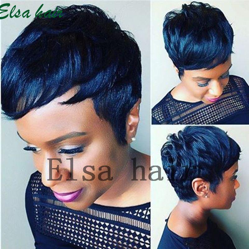 Nouvelle Arrivée Rihanna Coiffure Perruque de Cheveux Humains Droit Court Pixie Cut Perruques Pour Les Femmes Noires Full Lace Front Bob Perruques Cheveux