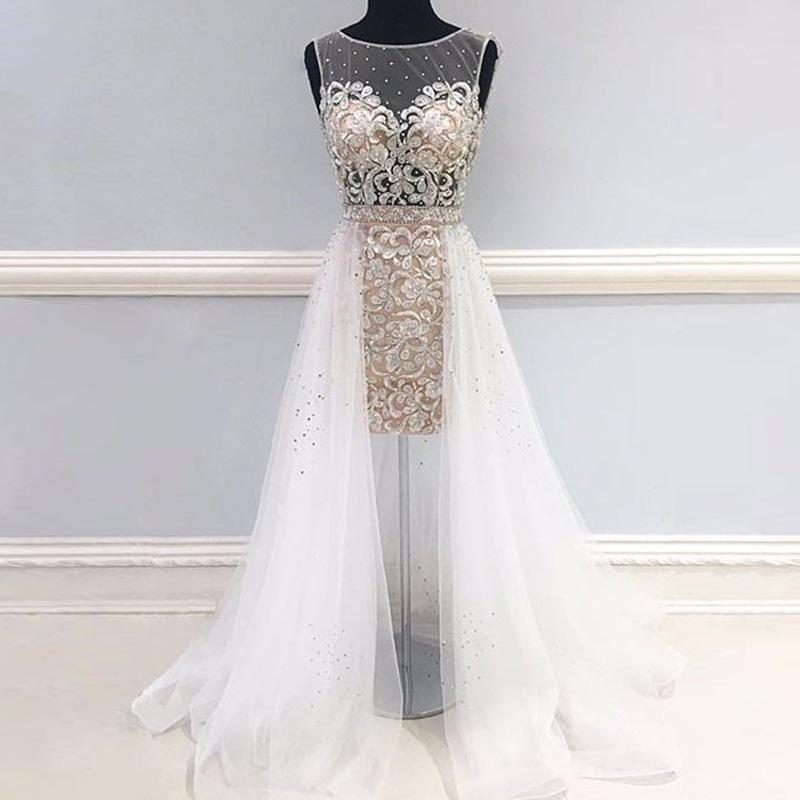 unique white round neck tulle short prom dress with long train beads applique evening dress illusion top bridal dress