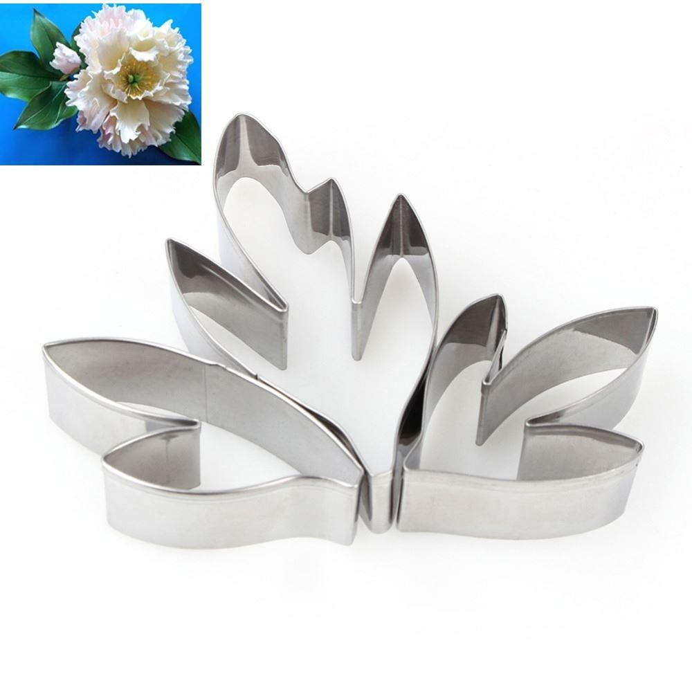 3pcs Flower Leaf Pattern Cake Cookie Cutter Baking Mold Stainless Steel Biscuit Fondant Modeling Shape Decorational Tool