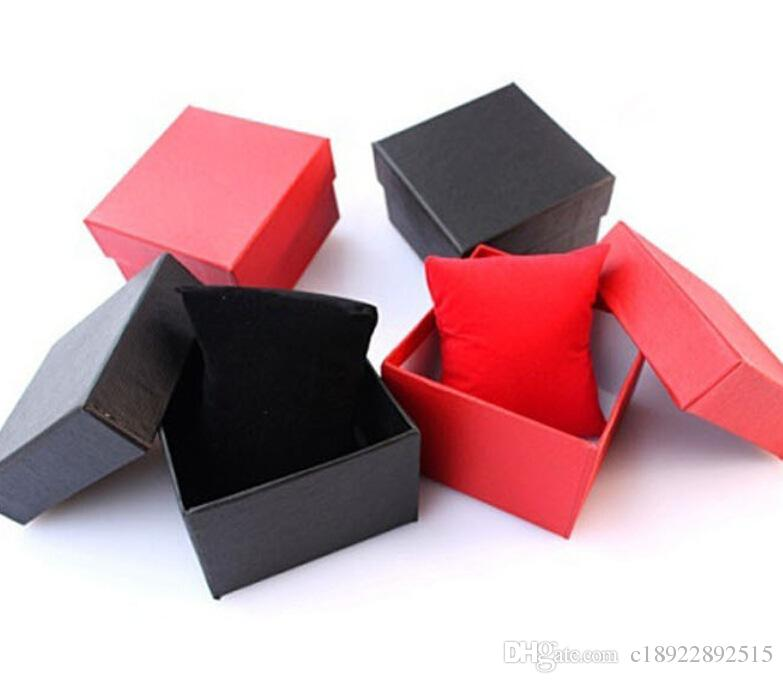 Fashion Watch boxes Paper Watch Box With Pillow Packing Black Gift Box for watches Case Cheap Price