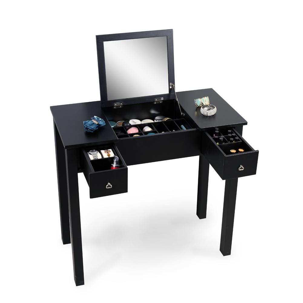 Black Vanity Table Dressing Table with Dressing Mirror Makeups Storage Organizer Soild Wood Painting Free Shipping