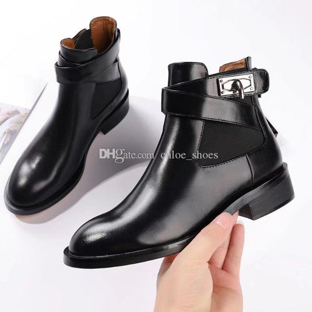 76fc24519ea Black Leather Buckle Martin Booties Feminino Low Heels Ankle Boots Women'S  Shoes Fashion New 2018 Shoes For Women Desert Boots From Chloe_shoes, ...