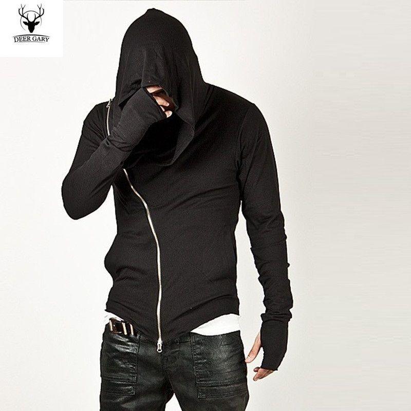Atacado-Sportswear da forma dos homens 2016 Marca Quente Diagonal ZIP-UP Mens Assassino Creed Camisola Com Capuz Design de Moda Para Homens Sportswear